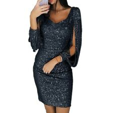 Women Sequin Long Sleeve Tassel Bodycon Club Party Cocktail Evening Mini Dress B