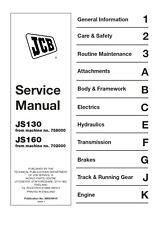 JCB JS130 JS160 SERVICE MANUAL REPRINTED COMB BOUND