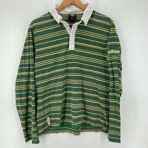 Adidas Polo Shirt Women's 2XL Green Yellow Striped Vintage 1990's Ladies