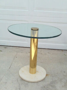 Vintage Modern Italian Round Brass Glass Marble Side Table PACE Ca. 1970's