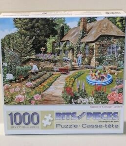"""""""Summer Cottage Garden"""" Bits and Pieces - 1000 Piece Jigsaw Puzzle 20"""" X 27"""""""