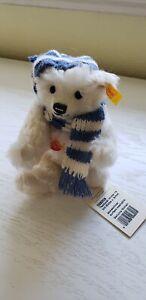 """Steiff Teddy Bear w/Hat & Scarf """"Winter 18"""" - Original tags attached -#028205-7"""""""