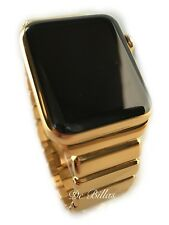 24K Gold Plated 42MM Apple Watch SERIES 3 DIAMOND Polished Modern Gold Link Band