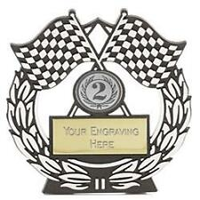 """""""Mega Chequered Flag SIlver Plaque (N)  Trophy Award"""""""