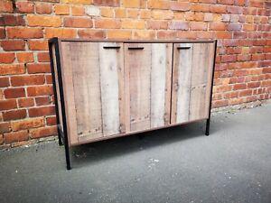 Industrial Chic 3 Door Sideboard / Wide Storage Cabinet / Cupboard Unit