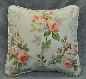 """Corded Accent Pillow made w Ralph Lauren Meadow Way Floral cotton Fabric 12"""" NEW"""