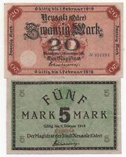 GERMANY NEUSALZ ODER 5 20 MARK 1919 EMERGENCY MONEY NOTGELD LOOK SCANS