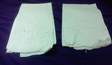 2 Pretty Vintage Cotton Hand Towels Embroidered With Open Drawn Work