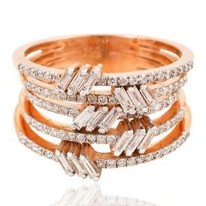 Natural 1.30 Ct. SI/HI Baguette Diamond Multi Band Ring 14k Rose Gold Jewelry