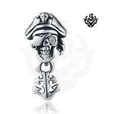 one eye pirate anchor earring Single Silver stud crystal stainless steel skull