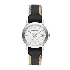 NWT Burberry Women's watch City Haymarket Check Black Leather 34MM BU9150 $395
