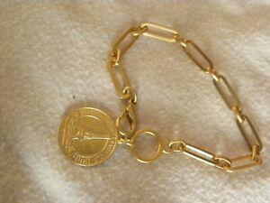 """FRENCH KANDE 18K GOLD PLATED LINK BRACELET  MEDALLION 8"""""""