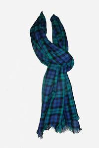 Black Watch Tartan Long Scarf Shawl Large Wrap Reeling Sash Lightweight Cotton