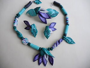 LILY FLOWER NECKLACE, EARRINGS & BARRETTE - HANDCRAFTED & SIGNED -  POLYMER CLAY