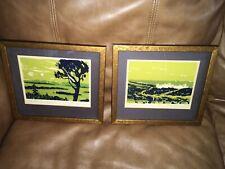 Vintage Signed Prints Art Original John Mosiman  Framed Under Glass.