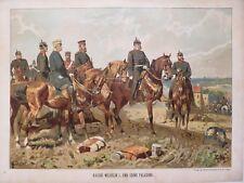 Militär Lithographie, Kaiser Wilhelm I. und seine Paladine, G.Koch, um 1893