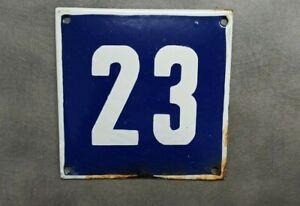 Vintage Enamel Sign Number 23 Blue House Door Street Plate Metal Porcelain Tin