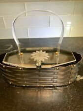 New listing Vintage 1950's silver metal woven hand 00006000 bag with clear Lucite lid and handle