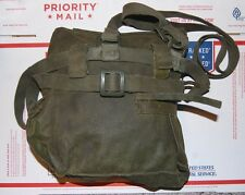Gas Mask Bag - Military Surplus OD Green Canvas - Quick Open Velcro Flap
