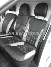 TO FIT A RENAULT TRAFIC VAN, SEAT COVERS, SILVER / BLACK QUILTED DIAMOND