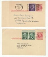 USA 2 x pre-paid uprated postcards to Australia circa 1950's