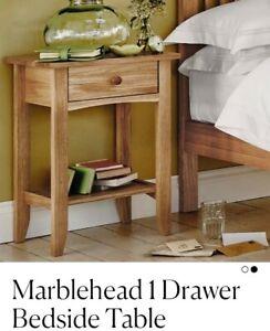 Feather & Black Marblehead 1 Drawer Bedside Table OAK Single Drawer