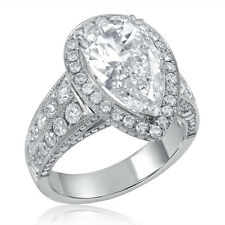 Pear Shape Micropave Three Sided Antique Style Diamond Engagement Ring PE8