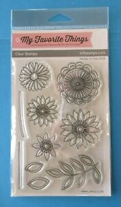 MFT FUNKY FLOWERS Acrylic Rubber Stamp Set MY FAVORITE THINGS Stitched Blossoms