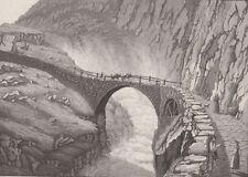 1830 Antique Aquatint - SWITZERLAND - Gothard Pass, d'Ury - The Devil's Bridge