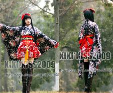 Gothic Lolita Waloli Set Red&Black Flower Dress Cosplay Custom-Made Kimono
