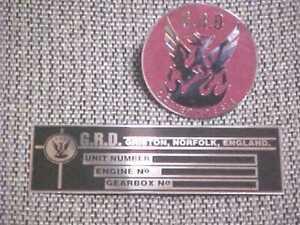 GRD Race Car British England Data Plate Horn Button Hood Medallion