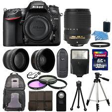 Nikon D7200 Digital SLR Camera Black + 3 Lens Kit 18-140mm VR Lens + 32GB Bundle