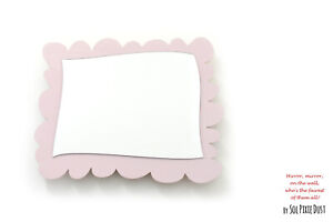 Safety Mirror Rectangle Frame Victorian Pink with LED light - Nursery Kid Mirror
