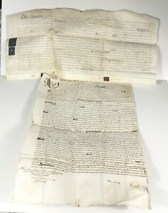 2 Early Antique 17th Century Indenture deed 1681 seal