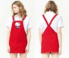 99087f2ec1f2 Hello Kitty red denim overall dress pinafore jumper women s size SMALL  sanrio