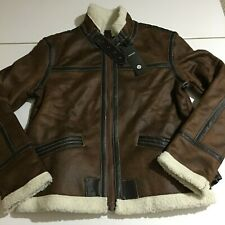 Aowofs Mens XS Brown Faux Leather Gamer Bomber Pilot Jacket Coat Lining NWT