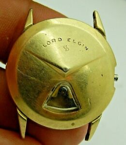 7775 Lord Elgin Chevron Direct read digital jump hour 14K gold filled watch case