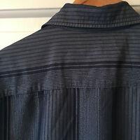 Men's Medium Marks and Spencer Grey Stripe Short Sleeve Shirt
