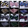 HISDERN Striped Men Woven Self Bow Tie Silk Wedding Bowtie Handkerchief Set#RS1