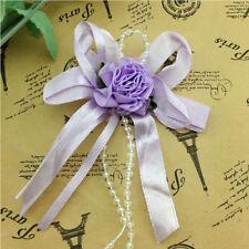 5/20/50pcs Big Satin Ribbon Flower Bows with Bead wedding Decoration Craft