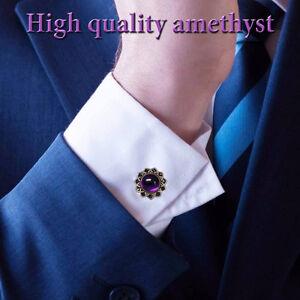 Men's Elegant Cuff links 10 mm Amethyst Natural Sterling Silver 925 Handmade