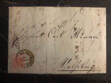 1856 Klagenfurt Austria Letter Cover To Wolfsberg 3kr Imperforate Stamp