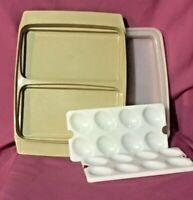 TUPPERWARE Deviled Egg Deli Keeper/Carrier 4pc Tray & Lid Set Almond Tan # 723-3