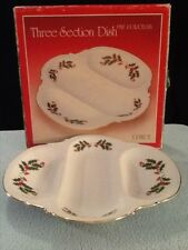 Vintage Christmas Holly - Japan Fine Porcelain 3-Sectioned Service Tray
