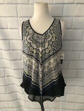 NWT BCX Sheer Layered Tank Top Sz M Black Multi Print Bow VNeck Blouse Top New