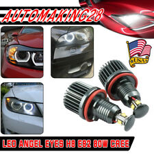 80W LED Angel Eyes Halo Lights Bulb 6000K For BMW E92 E93 E63 E70 X5 From USA