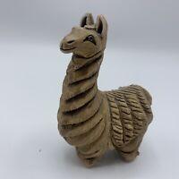 "Artesania Rinconada Llama #19 Uruguay Art Pottery 4 1/4"" Figurine Signed on Neck"