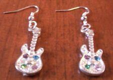 Boucles d'oreilles argentées guitare strass