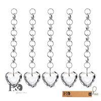 5PCS Clear Love Heart Hanging Suncatcher Glass Crystal Prisms Drop Pendants 38mm