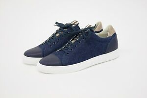 NWOB Brunello Cucinelli Men Multi-Textured Leather + Knit Sneakers 42/8.5US A211